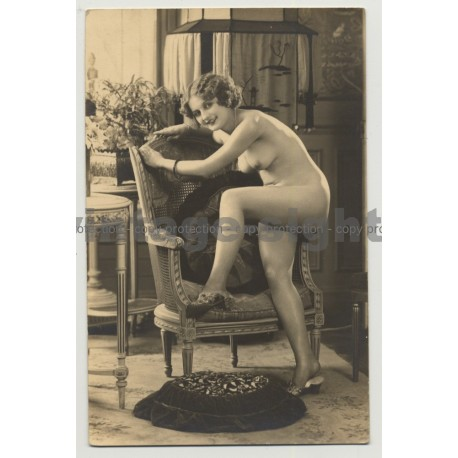 Sweet French Nude Poses On Basket Chair (Vintage RPPC Gelatine Silver ~1910s/1920s)