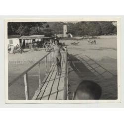 Mallorca - Camp De Mar: Woman On Boardwalk (Vintage Photo B/W 1962)