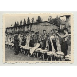 Soldier Supervises Clothing Distribution (Vintage Photo B/W ~1930s/1940s)