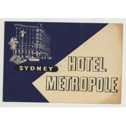 Hotel Metropole - Sydney / Australia (Vintage Luggage Label)