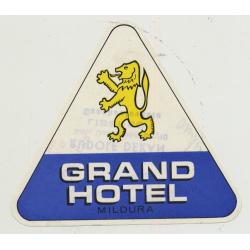 Grand Hotel - Mildura (Victoria) / Australia (Vintage Luggage Label)