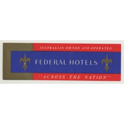 Federal Hotels 'Across The Nation' / Australia (Vintage Luggage Label)