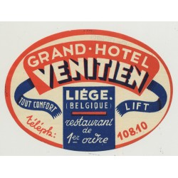 Grand Hotel Venitien - Liége / Belgium (Vintage Luggage Label)