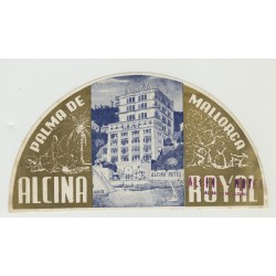 Hotel Alcina Royal - Palma de Mallorca / Spain (Vintage Luggage Label)