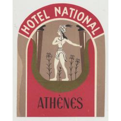 Hotel National - Athens / Greece (Vintage Luggage Label)