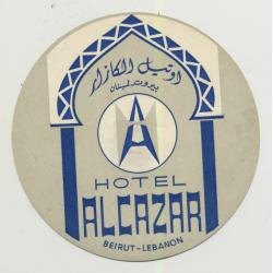 Hotel Alacazar - Beirut / Libanon (Vintage Luggage Label)