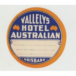 Vallelys Hotel Australian - Brisbane / Australia (Vintage Luggage Label)