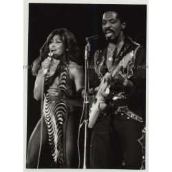 Ike & Tina Turner On Stage / Leopard Dress (Vintage Stage Photo B/W ~1970s)