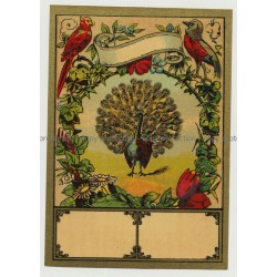 Peacock & Birds (Vintage Chromo Litho Label ~1910/1920s)