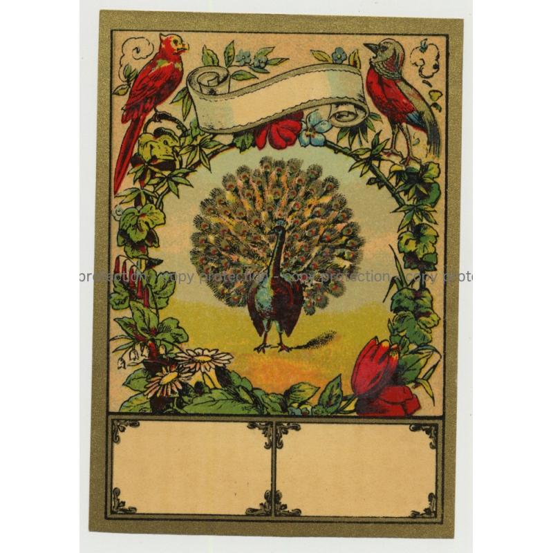 Peacock & Birds (Vintage Chromo Litho Label ~1910/1920s)