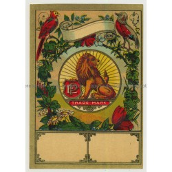 Lion & Birds (Vintage Chromo Litho Label ~1910/1920s)