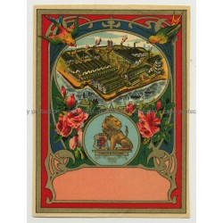 Factory EP Trademark / Lion (Vintage Chromo Litho Label ~1910/1920s)