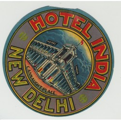 Hotel India - New Delhi / India (Vintage Luggage Label)