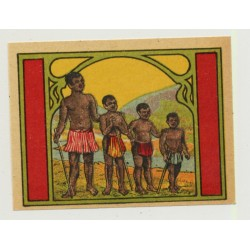 Goup Of Indigenous People (Vintage Chromo Litho Label ~1910/1920s)