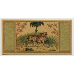 Lion In Front Of Palm Tree (Vintage Chromo Litho Label ~1910/1920s)