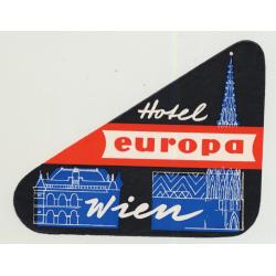 Hotel Europa - Vienna (Wien) / Austria (Vintage Luggage Label)