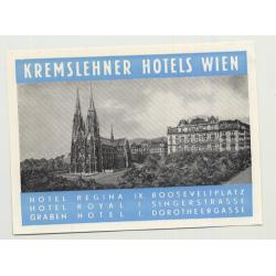 Kremslehner Hotels - Vienna (Wien) / Austria (Vintage Luggage Label)