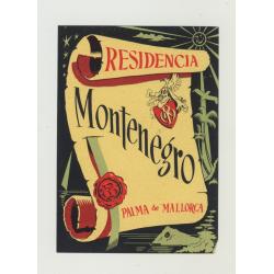 Residencia Montenegro - Palma de Mallorca / Spain (Vintage Luggage Label)