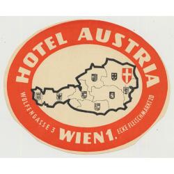 Hotel Austria - Vienna (Wien) / Austria (Vintage Luggage Label)