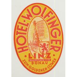 Hotel Wolfinger - Linz / Austria (Vintage Luggage Label)