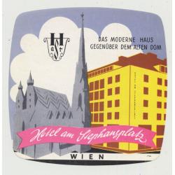 Hotel Am Stephansplatz - Wien (Vienna) / Austria (Vintage Luggage Label)