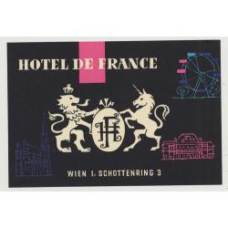 Hotel De France - Wien (Vienna) / Austria (Vintage Luggage Label)