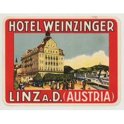 Hotel Weinzinger - Linz A.D. / Austria (Vintage Luggage Label ~1920s)