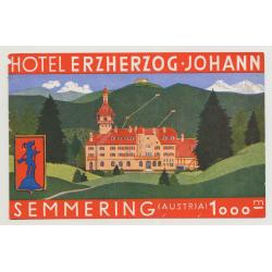 Hotel Erzherzog Johann - Semmering / Austria (Vintage Luggage Label)