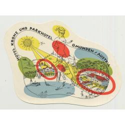 Hotel Krone Und Parkhotel - Gmunden / Austria (Vintage Luggage Label)