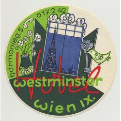 Hotel Westminster - Wien (Vienna) / Austria (Vintage Luggage Label)
