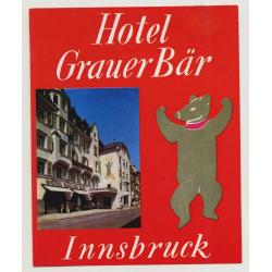 Hotel Grauer Bär - Innsbruck / Austria (Vintage Luggage Label)