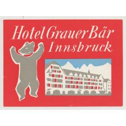 Hotel Grauer Bär - Innsbruck (2) / Austria (Vintage Luggage Label)