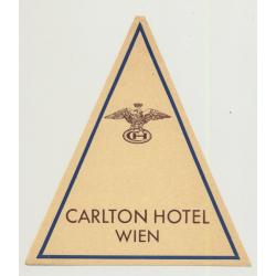 Carlton Hotel - Wien (Vienna) / Austria (Vintage Luggage Label)