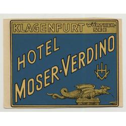 Hotel Moser-Verdino - Klagenfurt Wörthersee / Austria (Vintage Roll On Luggage Label)