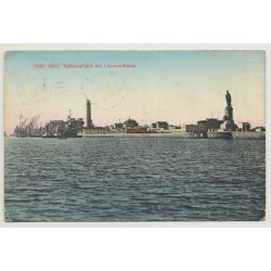 Port Said / Egypt: Harbour Entrance / Lesseps Statue (Vintage PC B/W)