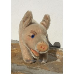 Vintage Steiff Jolanthe Pig Running BUTTON & TAG 1317,08..1960s Blue Glass Eyes