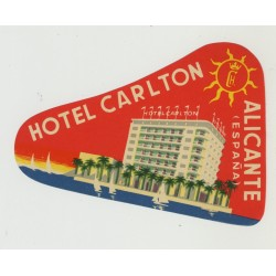 Hotel Carlton - Alicante / Spain (Vintage Luggage Label)
