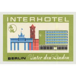 Interhotel Unter Den Linden - Berlin / East Germany DDR (Vintage Luggage Label)