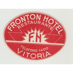 Fronton Hotel - Vitoria / Spain (Vintage Luggage Label)