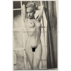 Pretty Blonde Nude Shows Armpits / Beehive - Bush (Vintage Photo P/C B/W ~1960s)