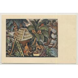 Balinese Drawing / Indonesia (Vintage Postcard: Kolff Serie C.C. 1)