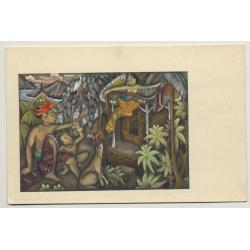 Balinese Drawing / Indonesia (Vintage Postcard: Kolff Serie C.C. 5)