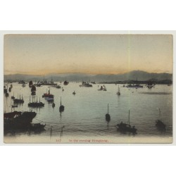 Hong Kong: In The Evening (Vintage Coloured Postcard K.M & CO ~1905)