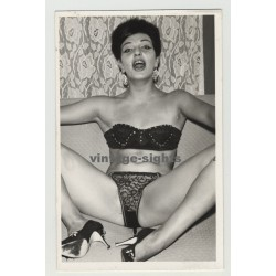 Wild Short Haired Woman In Lingerie In Hot Pose / High Heels (Vintage Photo Postcard)