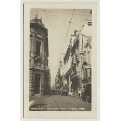 Buenos Aires / Argentina: Calle Suipacha (Vintage Postcard B/W)