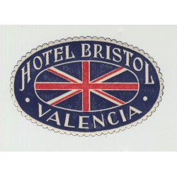 Hotel Bristol - Valencia / Spain (Vintage Luggage Label)