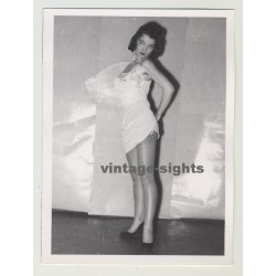 Tiny Pin Up Female Posing In Short White Dress / Suspenders (Vintage Photo 1950s)