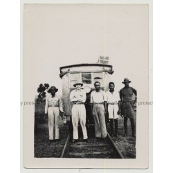 Mixed Group Of Workers In Front Of Railway Wagon (Vintage Photo B/W Africa 1940s/1950s)