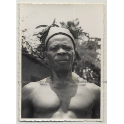 Portrait Of African Man W. Headdress / Congo?  (Vintage Photo B/W Africa 1940s/1950s)