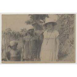 Belgian Woman w. African Woman & Boy - Lisala / Congo (Vintage Photo B/W 1926)